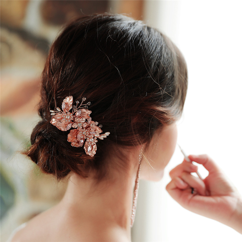 Delicate Rose Gold Hair Comb Wedding Headpiece Crystal Beaded Hair Accessories Bridal Hair Clip Headdress Pearls Leaves Hd62 Hair Jewelry Aliexpress