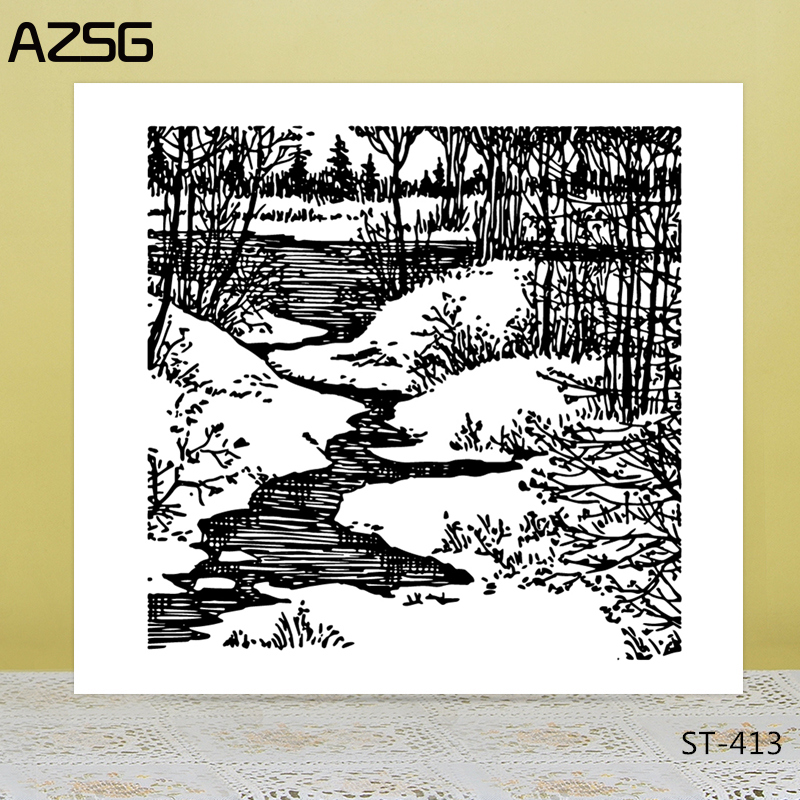 AZSG Snow Land Brook Clear Stamps/Seals For DIY Scrapbooking/Card Making/Album Decorative Silicone Stamp Crafts