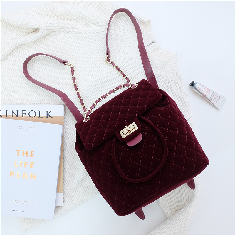 все цены на 2017 New Fashion Girl's Backpack Famous Brand Velvet Backpack Female Women Designers Casual All-Match Backpack