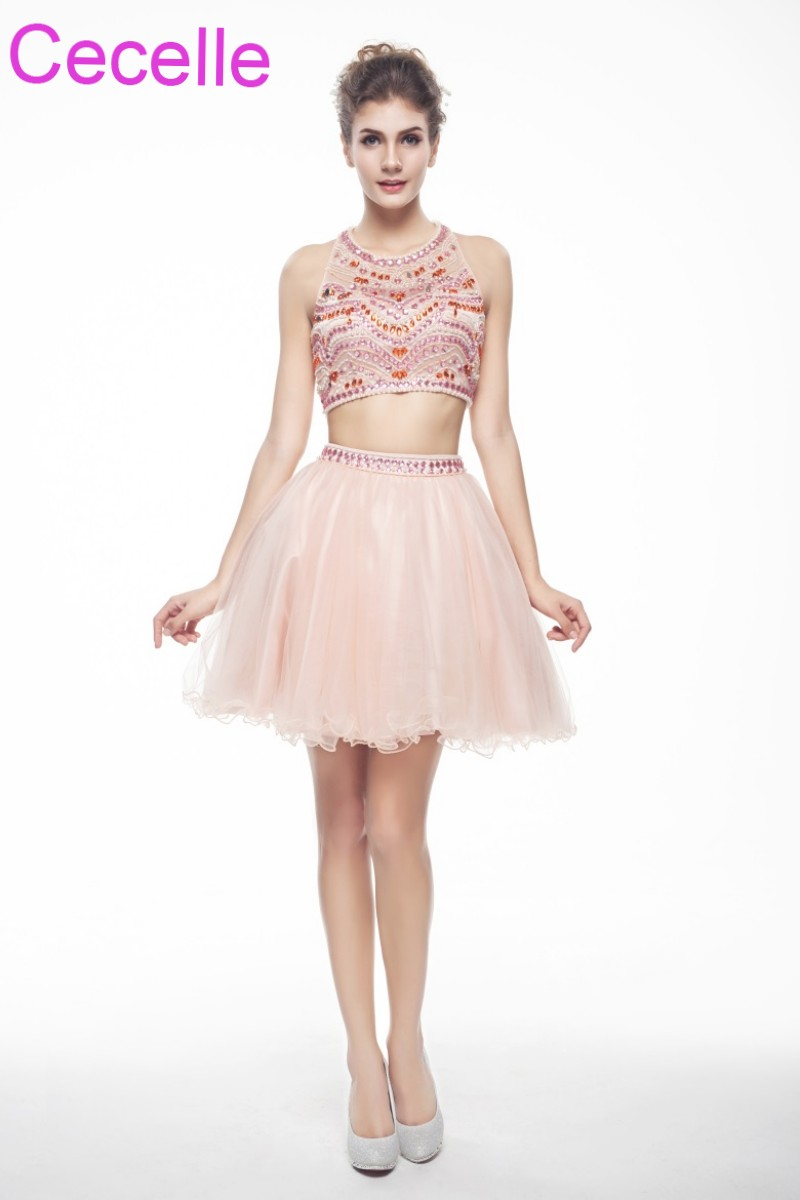Blushing Pink Two Pieces Short   Cocktail     Dresses   2019 Halter Beaded Crysstals Tulle Open Back Juniors Informal Short Prom   Dress