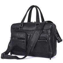 Men Business Travel Briefcases Genuine Leather 2019 Man Vintage Fashion Casual Laptop 15