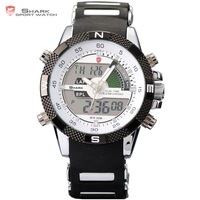 Digital SHARK Analog Dual Time Date Day Alarm Silicone Strap Outdoor White Quartz Wrap Wrist Military
