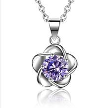 TJP Cute Flower Pendants Necklace For Women Party Jewelry Trendy Purple Crystal Female Accessories Fashion 925 Silver