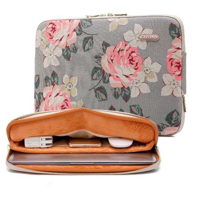 2018 New Kayond Laptop Sleeve Bag Rose Flora Canvas Case 11