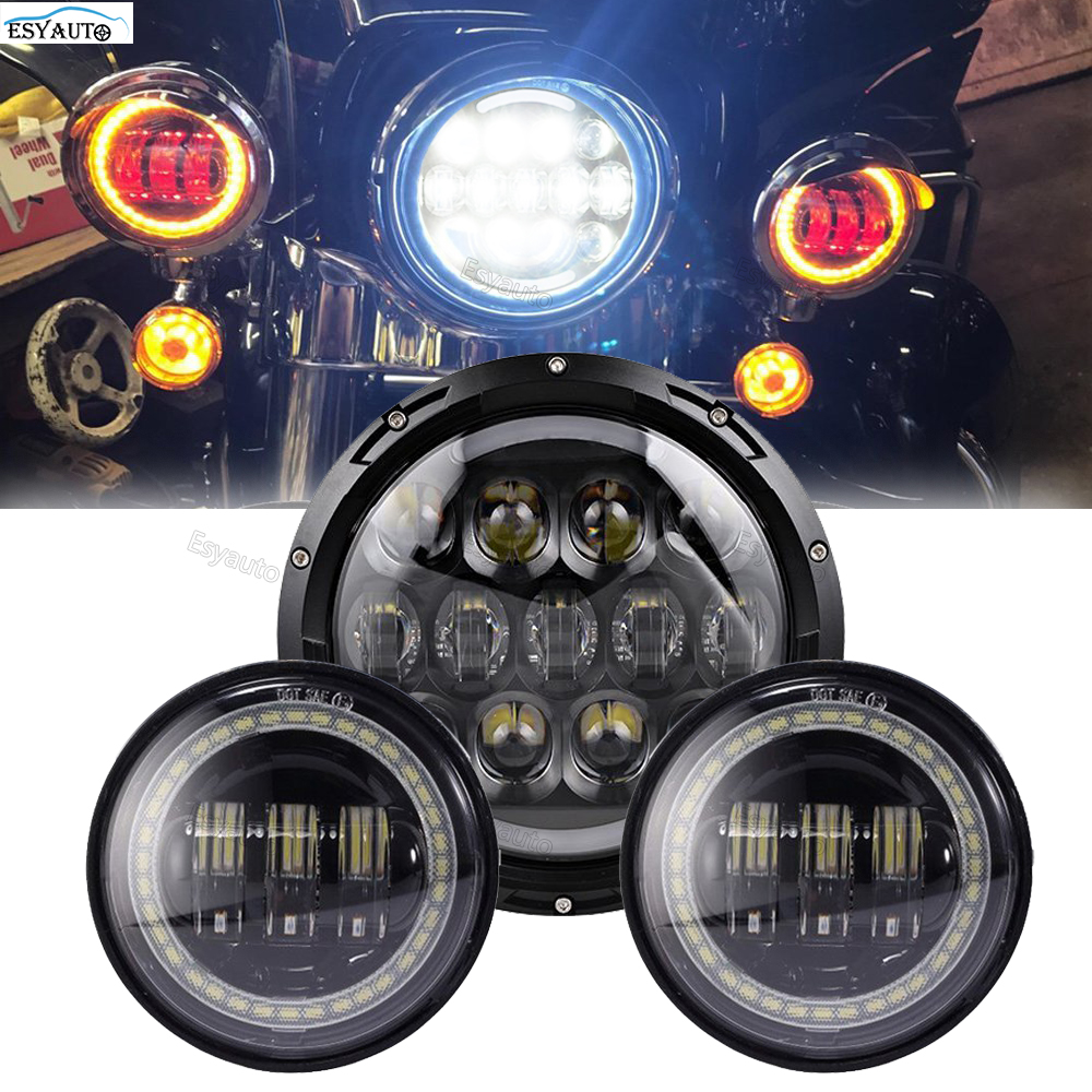 7 inch LED Headlight Round 7'' headlamp Amber turning color +4.5 inch LED Fog Light red eyes Round Lamp for Harley Motorcycle