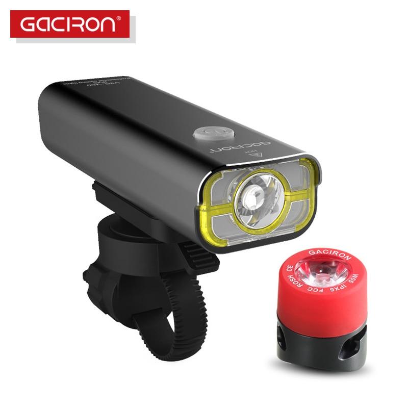 GACIRON Bike Bicycle 400 Lumens LED Flashlight USB Rechargeable handlebar Headlight Biking <font><b>Lamp</b></font> with W05 tail light set