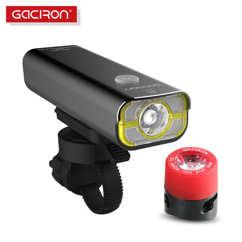 GACIRON <font><b>Bike</b></font> Bicycle 400 Lumens LED Flashlight <font><b>USB</b></font> Rechargeable handlebar Headlight Biking Lamp with W05 tail <font><b>light</b></font> <font><b>set</b></font> image