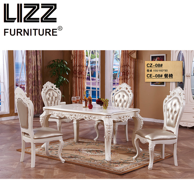 marble living room furniture how to decorate small ideas dining table set royal antique style muebels square chesterfield chair