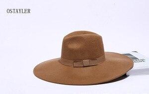 Image 4 - Chapéu tipo fedora, chapéu super grande, aba longa, preto, cáqui, feminino, laço, jazz, lã australiana, casual, para inverno sombrero