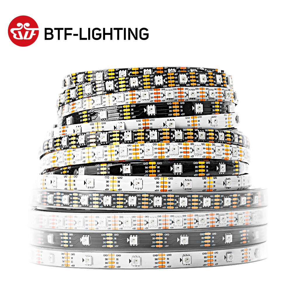 1m/4m/5m WS2813(Dual-signal wires)30/60 leds/m 2813 individually led pixel strip WS2812B Updated Black/White PCB IP30/65/67 DC5V