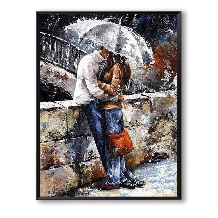 DIY Oil painting on Canvas Handmade Paint by number Curdros decoracion Lover Drawing Umbrella Kiss Couple Valentine Gift SZH-34