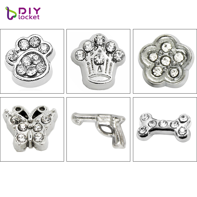 10pcs!! Mix Style Floating Charms Zinc Alloy Fit Floating Lockets & Floating Locket Bracelet LSFC042-591