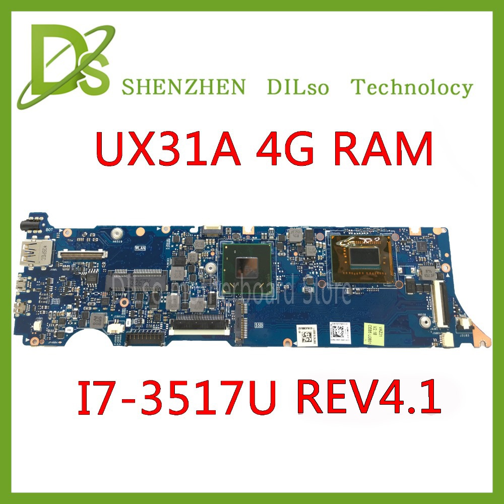 KEFU UX31A For ASUS UX31A UX31A2 Laptop motherboard UX31A I7-3517U CPU 4G RAM rev4.1 UX31A mainboard Test original zenbook for asus ux31a laptop motherboard ux31a rev2 0 mainboard processor i7 4g memory 100
