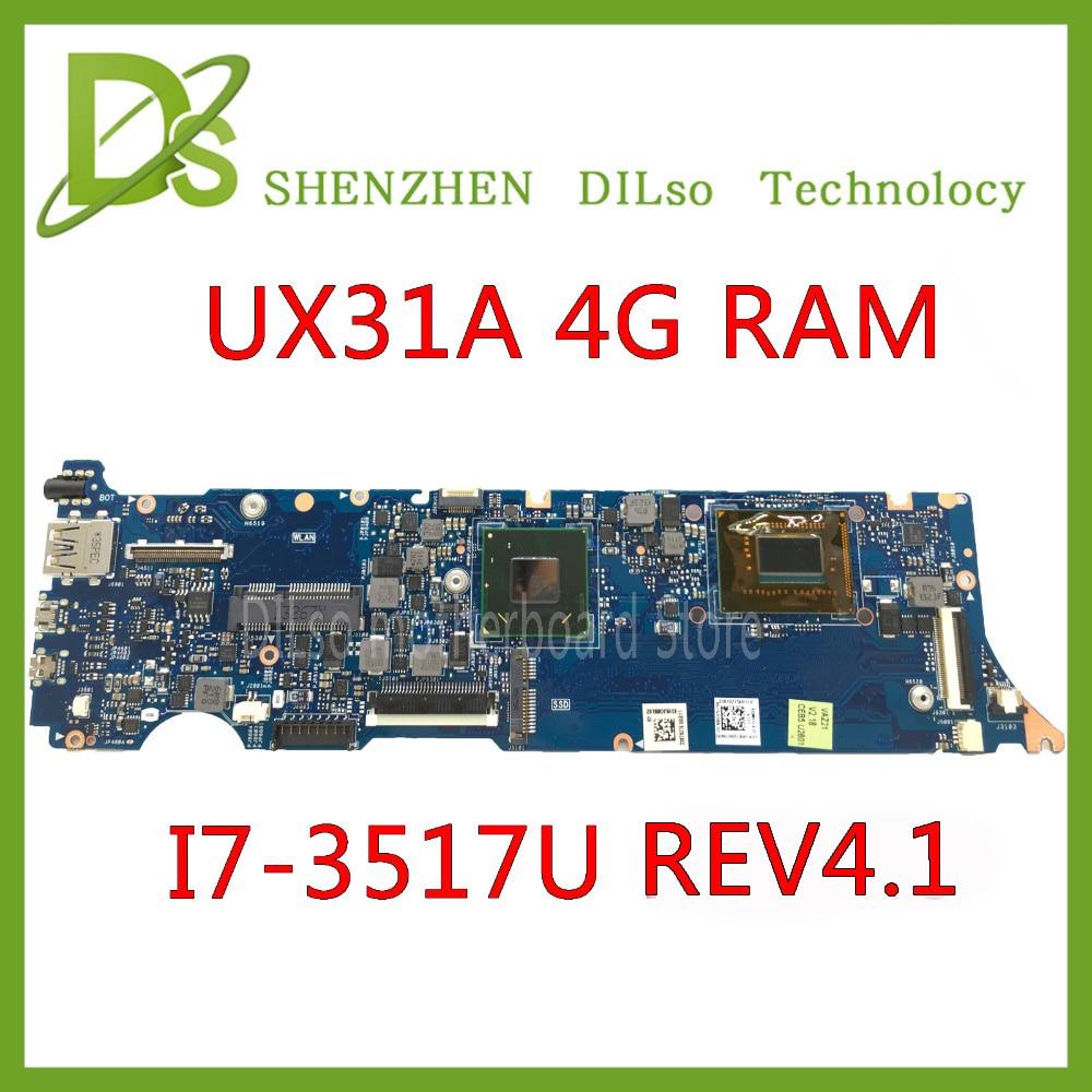 KEFU UX31A For ASUS UX31A  UX31A2 Laptop Motherboard UX31A I7-3517U CPU 4G RAM Rev4.1 UX31A Mainboard Test