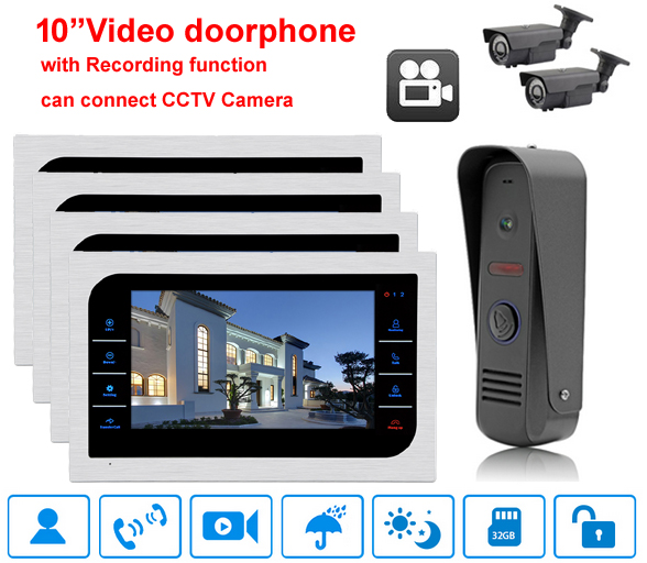 Built-in power 10 Video Door Phone Intercom System Support SD Card Recording&Picture Memory Touch Key Indoor Monitor with ring