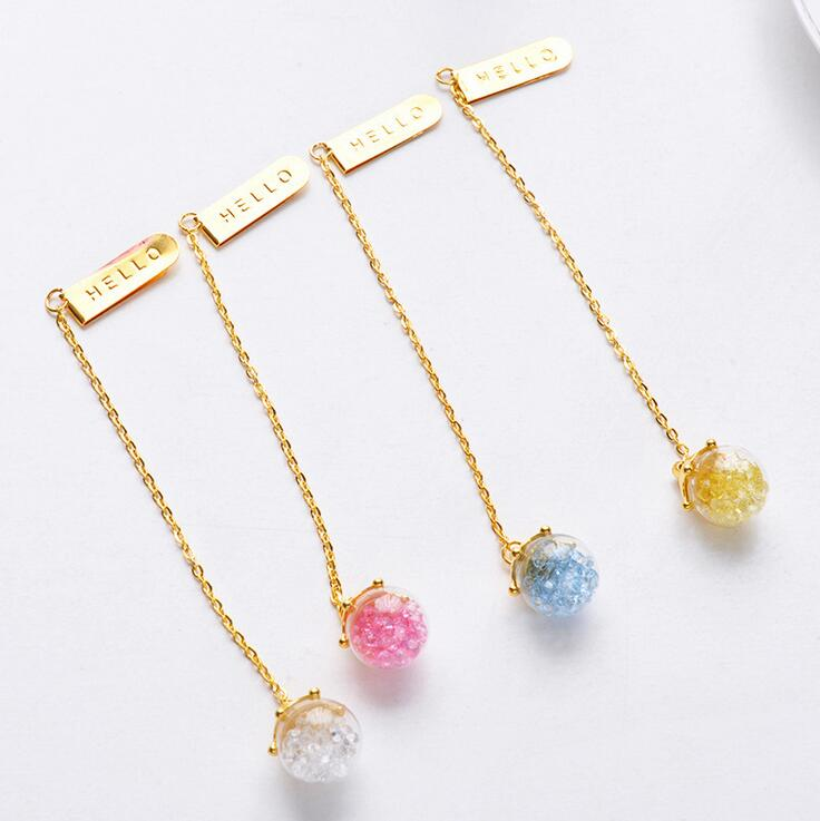 Creative Diamond Glaze Pendant Bookmark Stationery School Office Supply Escolar Papelaria