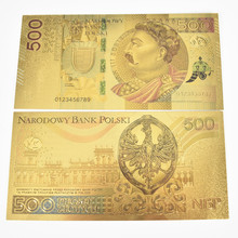 HOT Colorful Gold Foil 500 Poland Banknote PLN for partriotism crafts collection