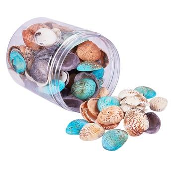 1 caja de aproximadamente 100-120 Uds. Conchas marinas naturales teñidas surtidas con agujero