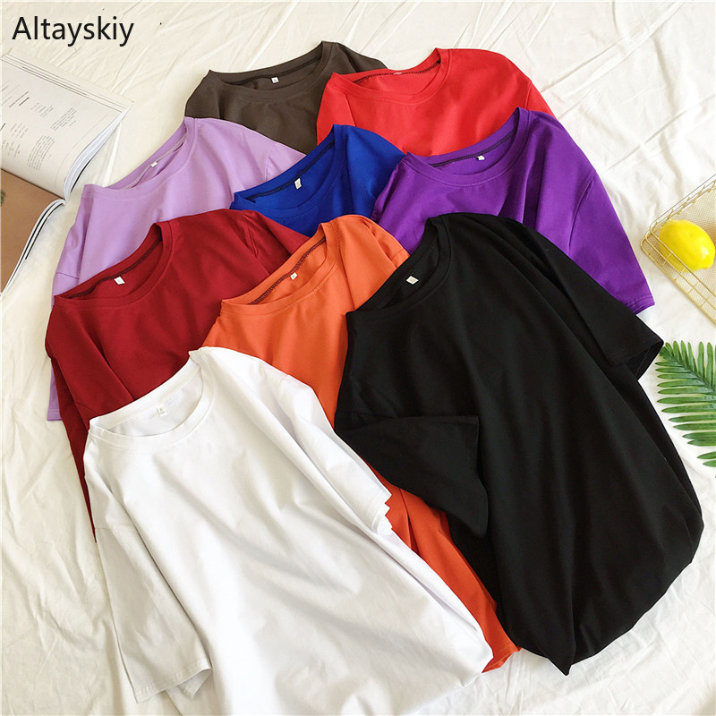 T-shirts Women O-Neck Solid Simple All-match Korean Style Candy Color Soft Sweet T-shirt Womens Kawaii Summer Short Sleeve Tees