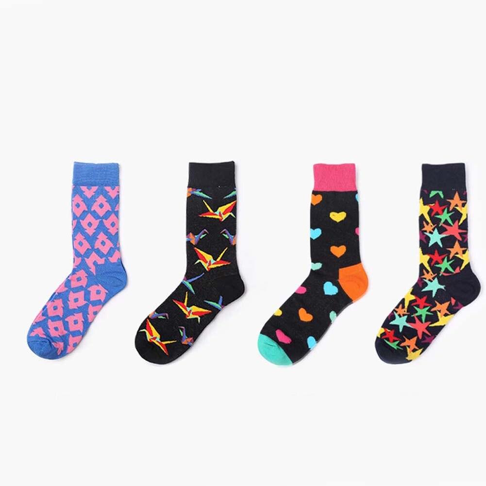 Giraffita Cotton New Brand Mens Socks Harajuku Stars Hearts Printed Long Tube Colorful Happy Socks Size 36-44
