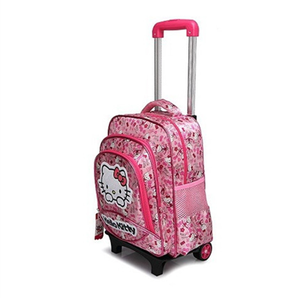 Kids Removable Trolley Hello Kitty School Bags With Wheels Girls ...