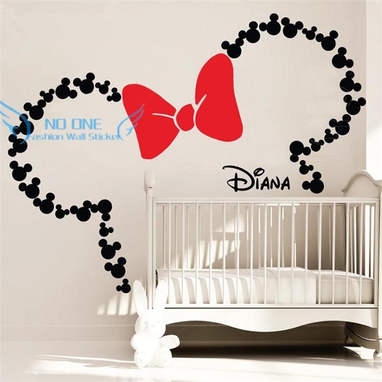 DIY Mickey Mouse Inspirované uši s lukem a OSOBNÍM KOŠÍKEM NÁZEV Minnie Mouse Inspirované nástěnné nálepky Mateřská dětská místnost Dekorace