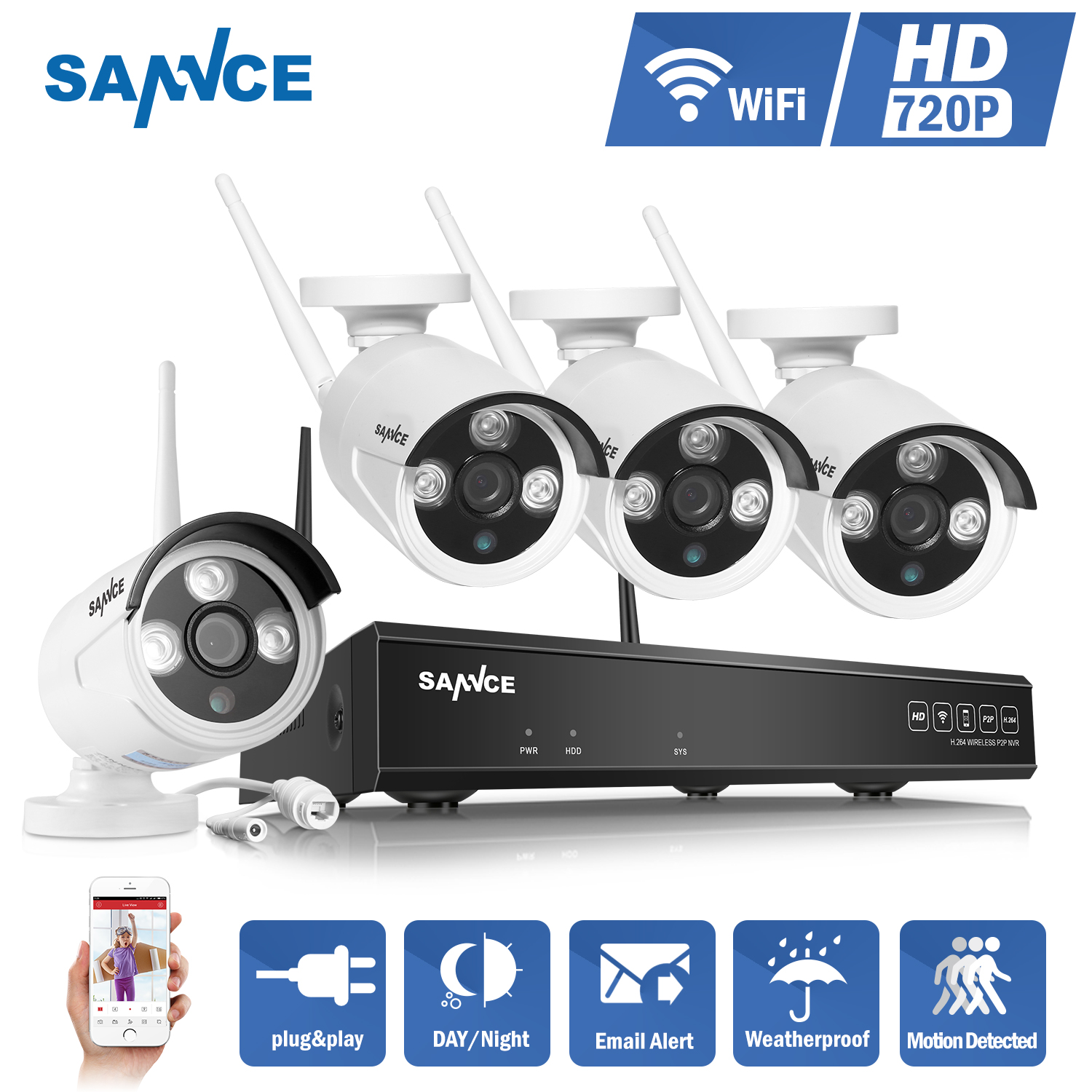SANNCE 4CH Wireless IP Camera Wi-fi NVR Kit 720P HD Outdoor IR Night Vision Security Network WIFI CCTV System P2P Plug and Play escam wnk403 plug and play wireless nvr kit p2p 720p hd outdoor ir night vision security ip camera wifi cctv system