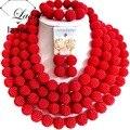 ¡ Nuevo! Joyería de traje de la Boda Nigeriano Beads Africanos Joyería Conjunto Rojo ABD598
