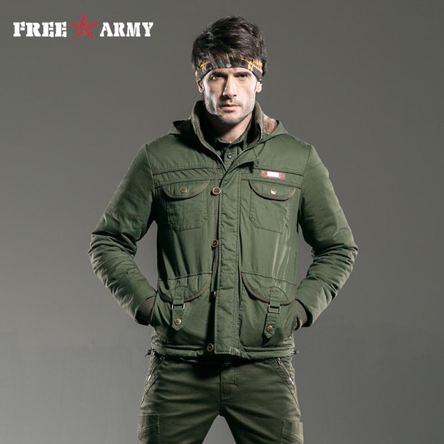 07dc24832737b FreeArmy Brand Men Coat Short Winter Mens Hooded Jacket Military Warm Jacket  Men Jackets And Coats