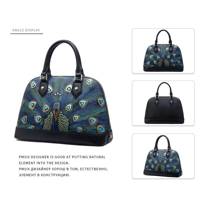 Pmsix estampado de animales bolsos de cuero genuino de la cáscara de la marca de las mujeres bolsos de diseñador conveniente sólido de alta calidad bolso de las mujeres - 3
