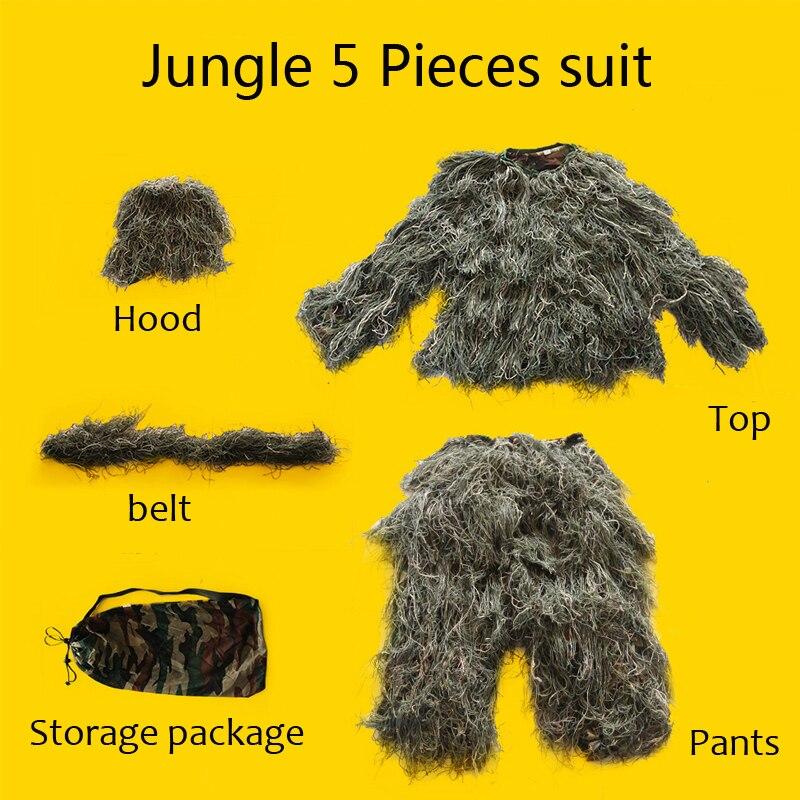 Militaire Camo chasse vêtements Ghillie costume 5 pièces capuche + ceinture + haut + pantalon + sac ensemble Sniper Ghillie Camouflage 3D costume tactique Uniforme - 4