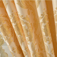 Aubre Jacquard Window Curtains Heavy Fabric High Quality with Gold Color Yarn Embed 75 Black Out Brown Process Finished Size cheap GIGIZAZA Blackout Left and Right Biparting Open Ceiling Installation full shading Jacquard curtains Flat Window European and American Style