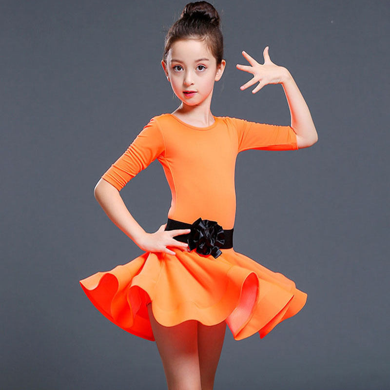 Children and adult Latin Dance dress Girl Middle Sleeve latin dance Practice Costume Flat Pants Separated Black Belt Suit JQ-289