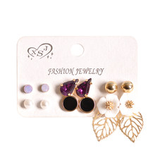 Hot fashion women's jewelry wholesale girls birthday party purple earrings pearl mixed suit 6 pairs /set earrings free shipping(China)