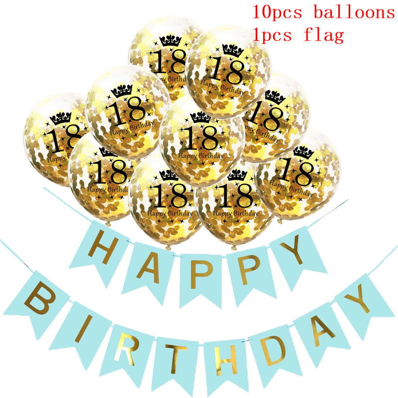11Pcs 12inch Transparent Sequin Balloon Happy Birthday Flag Set Gold Birthday Party For Child Wedding Descrption Supply in Ballons Accessories from Home Garden