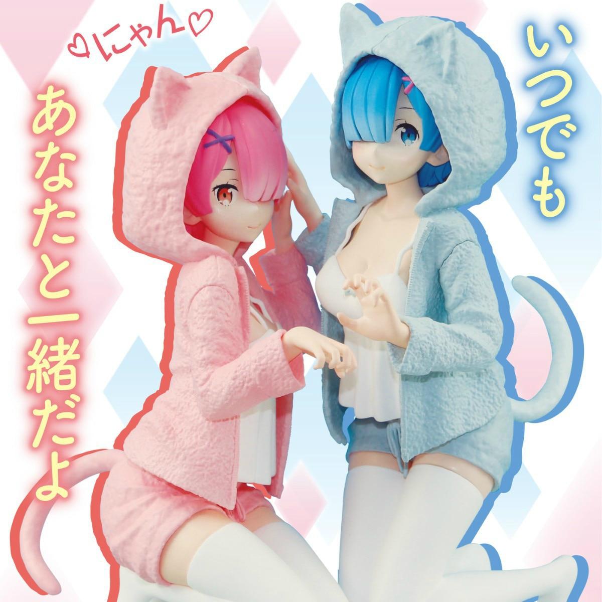 Re: la vie dans un monde différent de zéro Ram Rem chat oreille modèle Anime cadeau de noël agenouillé posture jouets loisirs figurines