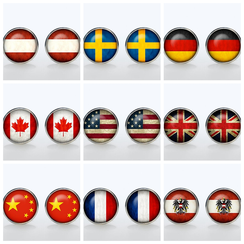 Vintage World National Symbolic Flag Cufflinks Brand Fashion Shirt Button Cuffl  Men Groom Wedding Gift USA UK French Canada