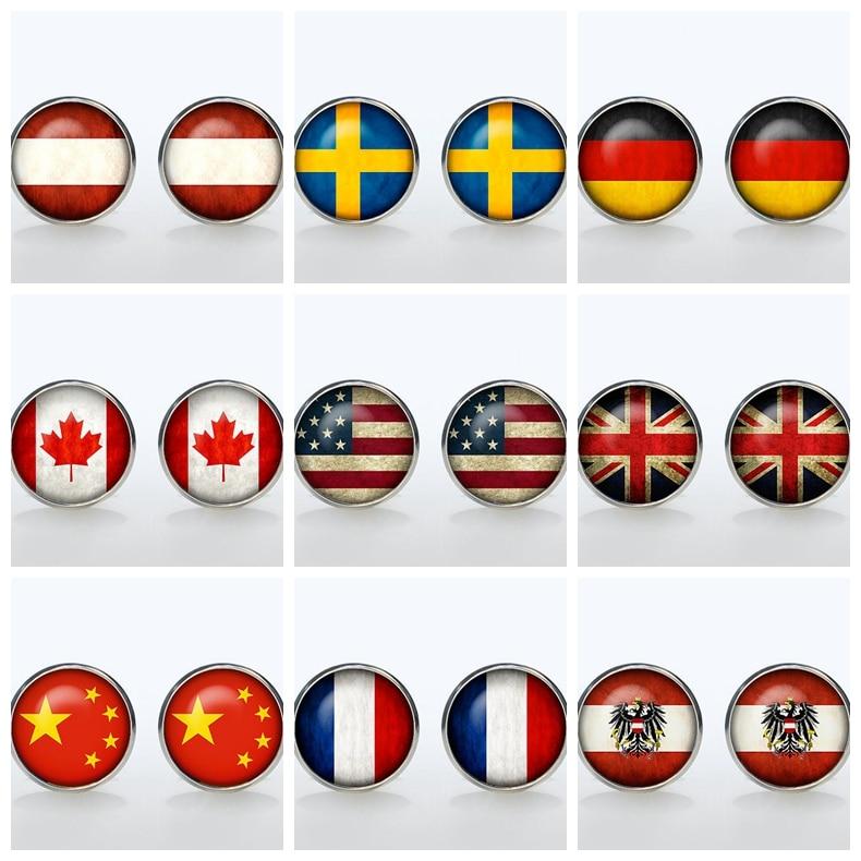 Vintage World National Symbolic Flag Cufflinks Brand Silver Shirt Button Cuffl Men Groom Wedding Gift USA UK French Canada