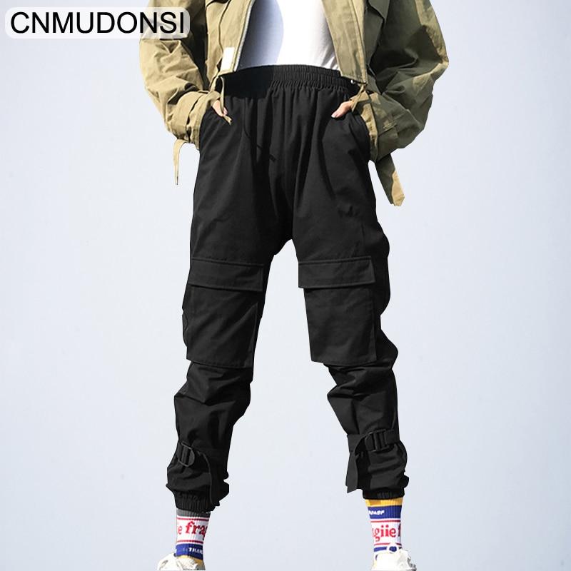 2019 Black Hip Hop Cargo Pants Women Harajuku Punk Casual Pants Capris Elastic  Loose Female Trousers Ladies Harajuku Sweatpants