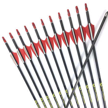 12pcs 31 inch Pure Carbon Arrow Spine 350 400 500 600 700 800 900 OD 5.6 ID 4.2 mm Archery For Recurve Bow Hunting Shooting