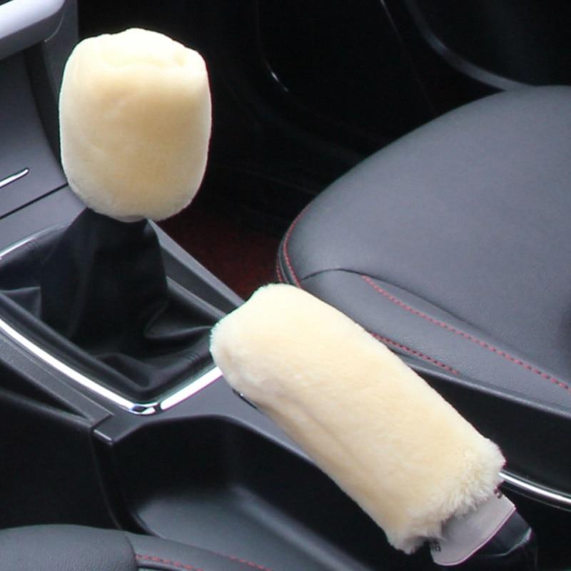 Winter Plush Fur Car Hand Brake Cover Shift Knob Cover For  Opel Astra VAUXHALL MOKKA Zafira Insignia Vectra Antara