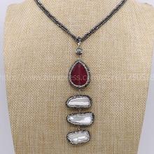 43cfa9fa9889 Piedra natural con perlas largo handcrafted druzy collar con natural 2mm  hematita collar de gemas para las mujeres caliente styl.