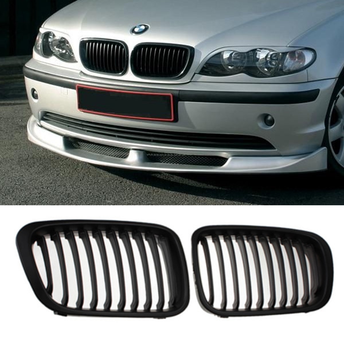 MATTE BLACK GRILLE GRILL for BMW E46 1998 2001 4 DOOR 320i 323i 325i 328i 330i