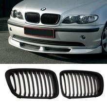 MATE NEGRO GRILLE GRILL para BMW E46 1998-2001 4 PUERTA 320i 323i 325i 328i 330i 1998-2001
