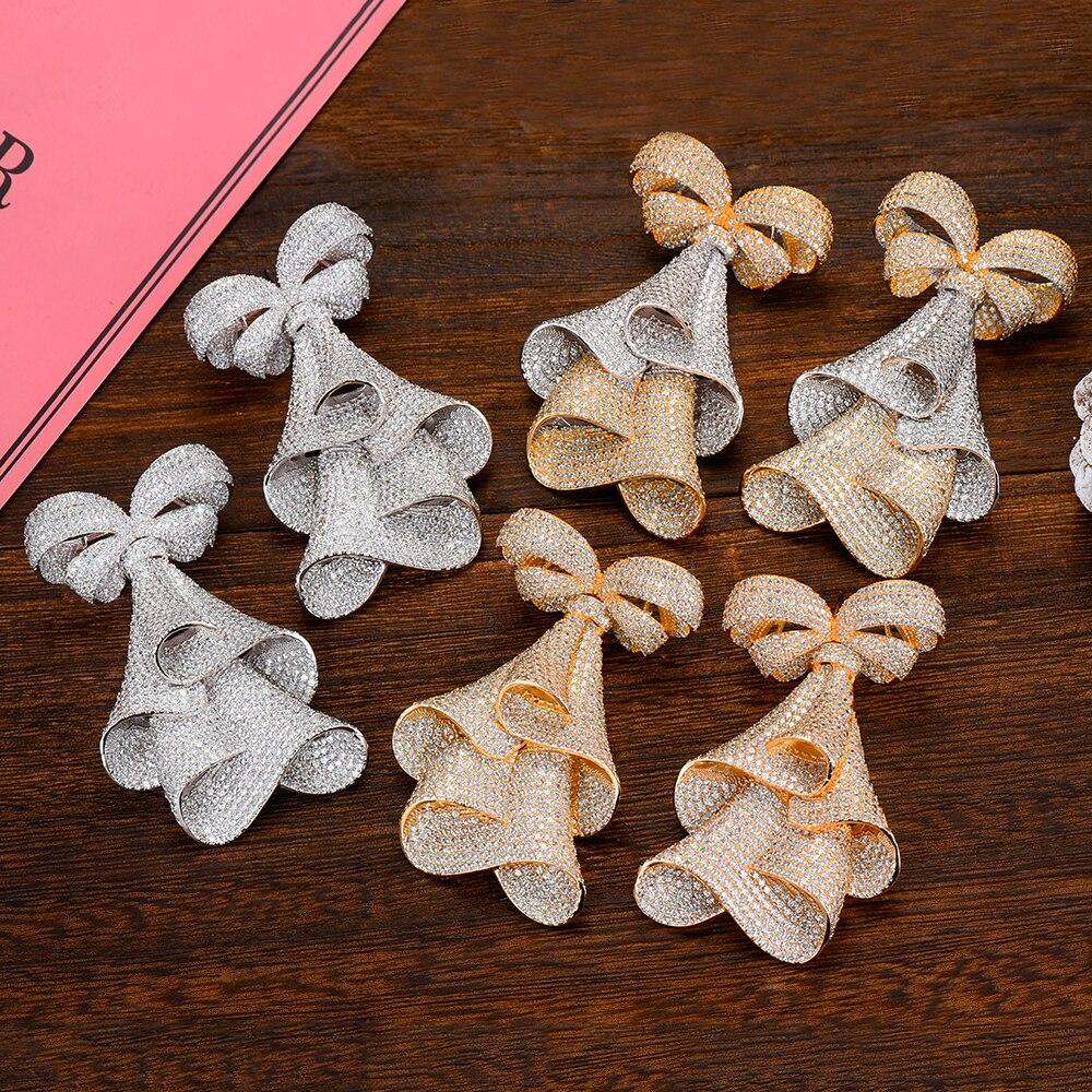 GODKI 73mm De Luxe GRAND BOWKNOT boucles d'oreilles À La Mode Zircon Cubique Mariage De Partie de Fiançailles Indien or boucles d'oreilles pour femmes 2019
