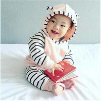 Baby Girl Cotton Clothing Set Classic Striped Winter Retail Hooded Sweatshirts Pants Girls Clothes Sets Casual