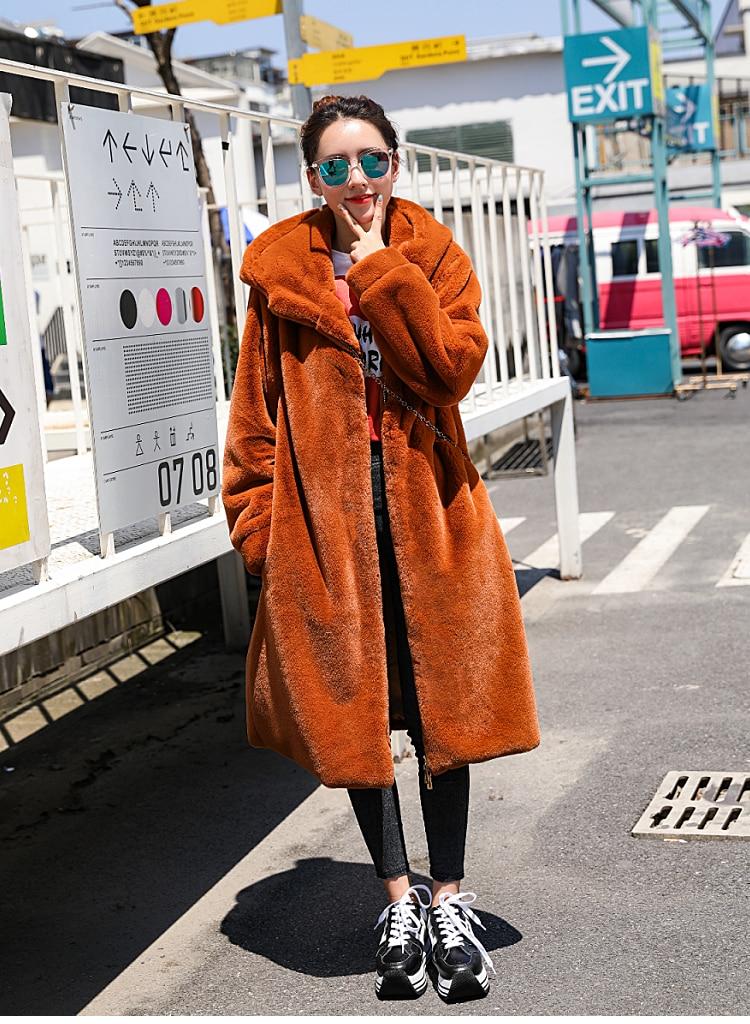 De Pour Chaud Orange Noir argent Fermeture Artificielle Éclair Conception Hoodies rouge Capuchon Fourrure Manteaux Gtgyff Survêtement Hiver Faux À Les Manteau Veste Femmes wR8Oxq78