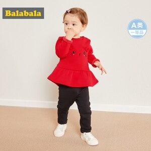 Image 1 - Balabala תינוקת 2 חתיכה מרופד פרווה תרמית 3D באני סווטשירט שמלה + למשוך על מכנסיים סט חורף תינוקות יילוד תינוק בגדים