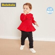 Balabala Baby Girl 2 Piece Fleece Lined Thermal 3D Bunny Sweatshirt Dress + Pull on Pants Set Winter Infant Newborn Baby Clothes