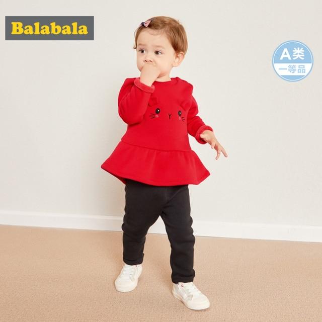 Balabala dziecko dziewczyna 2 sztuka z podszewką z polaru termiczna 3D Bunny bluza sukienka + Pull i staje w sytuacji sam na sam zestaw spodni zima niemowlę noworodka ubrania dla dzieci